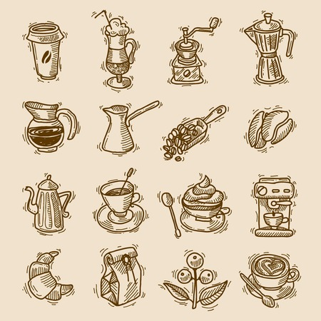 turk: Coffee sketch icons set with coffee-bulb turk beans isolated vector illustration.