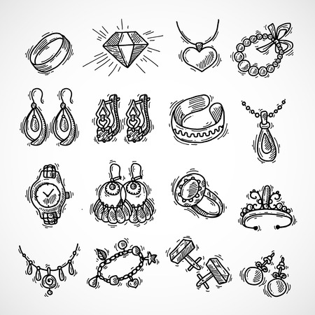 jewel hands: Jewelry decorative icons set with watches diamons jewel bracelet sketch isolated vector illustration