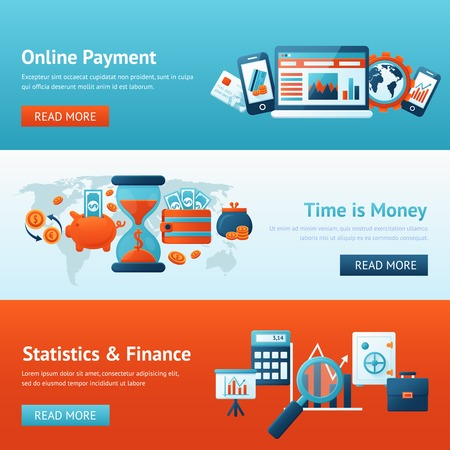 online: Bank flat banner set with online payment time is money statistics and finance isolated vector illustration
