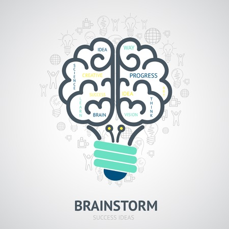 brainstorming: Idea brainstorm design concept with creative vision symbols in lightbulb brain shape vector illustration