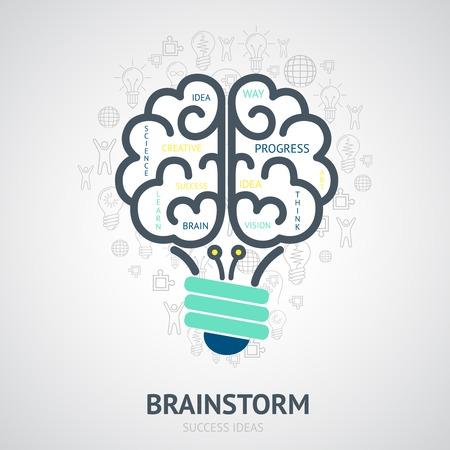lluvia de ideas: Lluvia de ideas Idea concepto de dise�o con s�mbolos de la visi�n creativa en el cerebro bombilla ilustraci�n forma vectorial Vectores