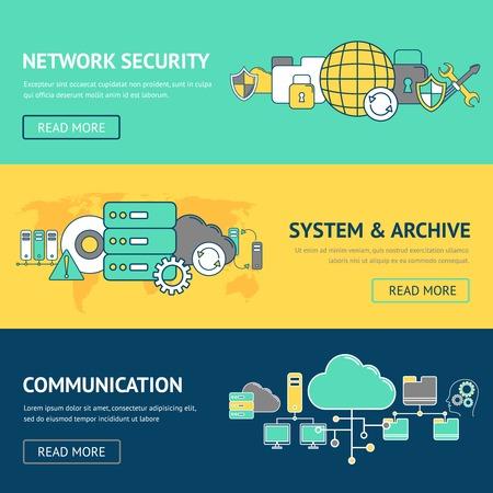 red informatica: Banderas red establecen con sistema de seguridad y archivo de comunicación aislado ilustración vectorial