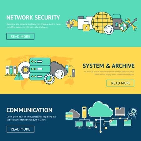 network server: Network banners set with security system and archive communication isolated vector illustration