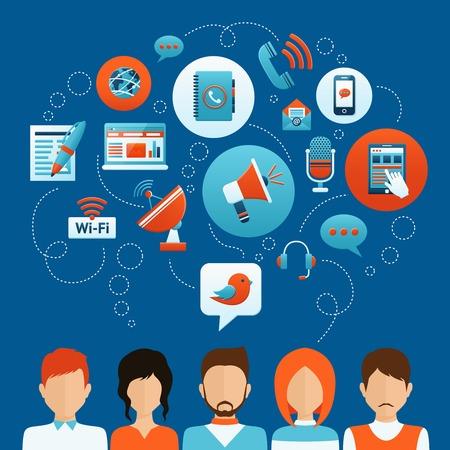 közlés: Az emberek kommunikációs koncepció férfi és női avatárok és a szociális háló, ikonok, vektor, Ábra