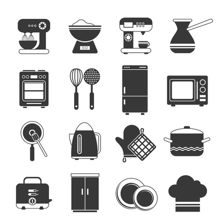 Kitchen interior utensils and appliances Icons black and white set isolated vector illustration