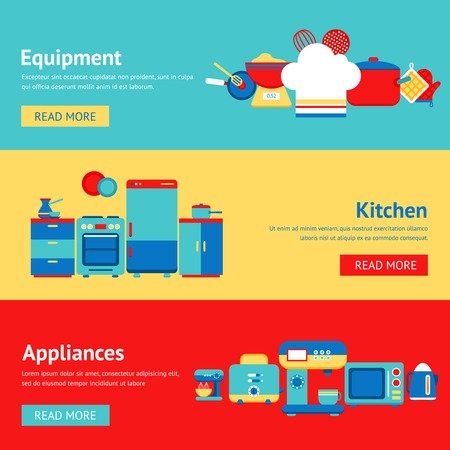 Kitchen appliances and equipment flat banner set with coffee machine mixer fridge isolated vector illustration Vector