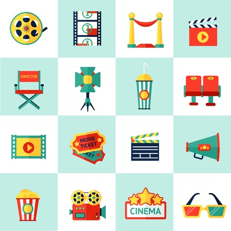 filmmaking: Cinema filmmaking icons set with film equipment and movie production isolated vector illustration