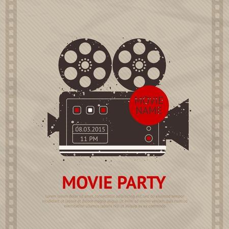 camara de cine: Cartel retro de la producci�n de pel�culas de cine con c�mara vintage ilustraci�n vectorial dispositivo