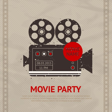 Retro movie cinema production poster with vintage camera device vector illustration