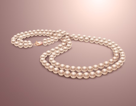 perlas: Realista de la joyer�a collar de perlas aisladas sobre fondo de color rosa ilustraci�n vectorial
