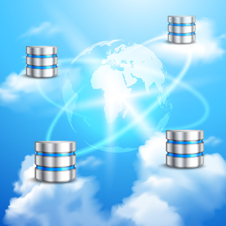 Network data server connected with realistic clouds and globe on background poster vector illustration Illustration