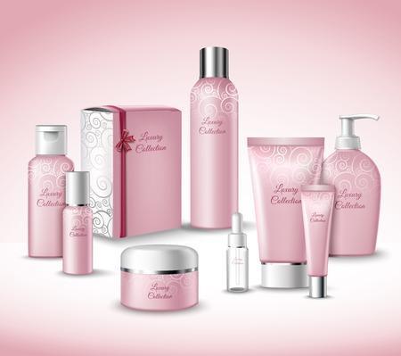 リアルな 3 d の高級コレクション化粧品顔美容ケア製品パッケージ セット ベクトル図