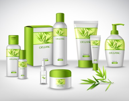 champu: Bambú natural los productos cosméticos a base de plantas en diferentes contenedores conjunto decorativo ilustración vectorial