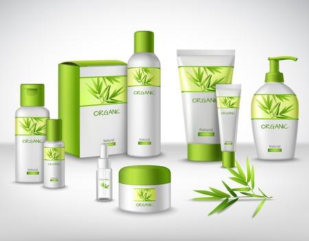 Bambou produits cosmétiques naturels à base de plantes dans différents conteneurs ensemble décoratif illustration vectorielle