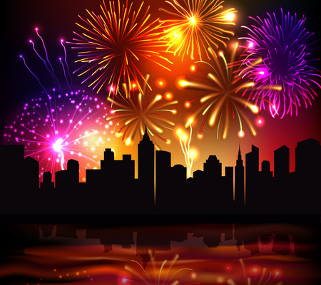 firework: Bright festive fireworks with modern city skyscrapers at night background vector illustration
