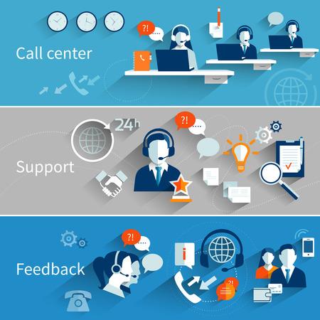 apoyo social: Banderas de servicio al cliente establecen con aislados retroalimentación apoyo del centro de llamadas ilustración vectorial Vectores