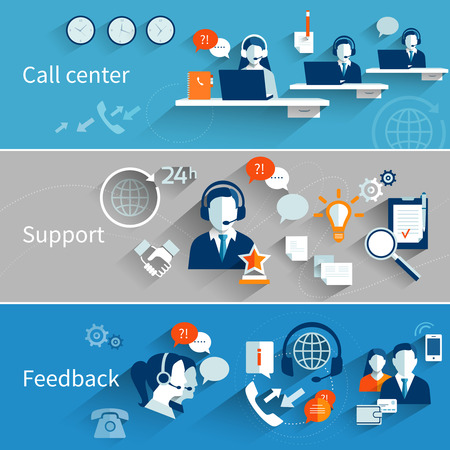 support center: Customer service banners set with call center support feedback isolated vector illustration