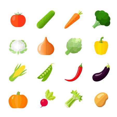 br�coli: Verduras iconos plana establecen con aislados de repollo br�coli coliflor apio pepino ilustraci�n vectorial Vectores