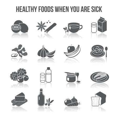 personas enfermas: Alimentos sanos para los enfermos iconos negros establecidos con leche aislado t� especias c�tricos ilustraci�n vectorial