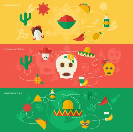 mexican party: Mexico travel flat banner set with mexican cuisine national holidays culture isolated vector illustration. Illustration