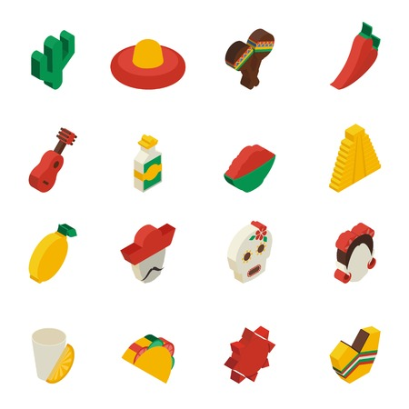 Mexican icons isometric set with  cactus lemon mask taco isolated vector illustration Vector
