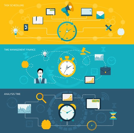 tasks: Time management flat banner set with task scheduling finance analysis set isolated vector illustration. Illustration