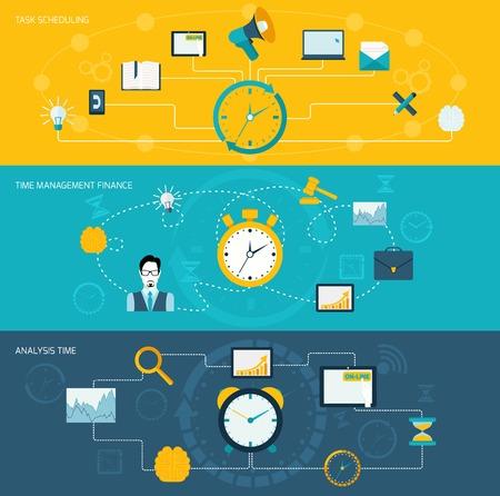 work task: Time management flat banner set with task scheduling finance analysis set isolated vector illustration. Illustration