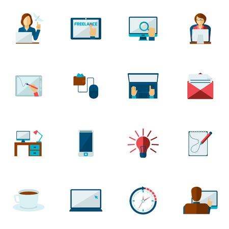 freelancer: Freelance icon flat set with freelancer creative people working symbols isolated vector illustration