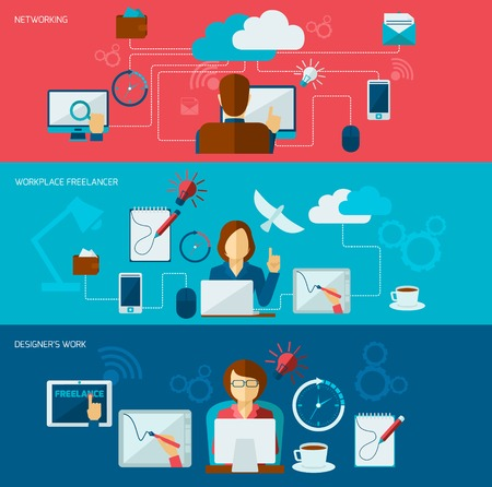 business connection: Freelance banner set with networking freelancer workplace designer work isolated vector illustration