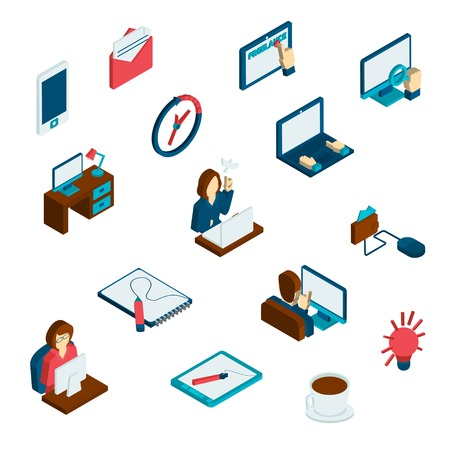 freelance: Freelance isometric 3d icons set with time management working with data and creative process isolated vector illustration