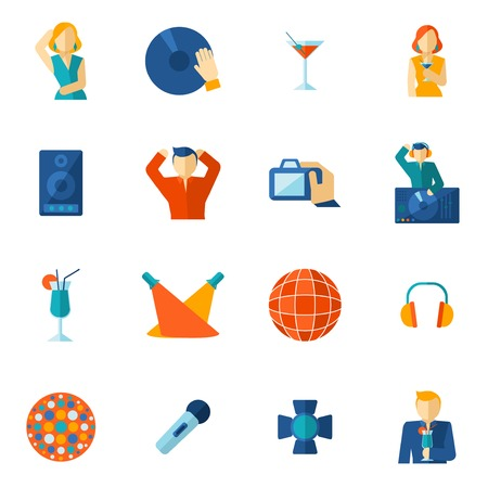 computer clubs: Night club cocktail party disco music icon flat set isolated vector illustration