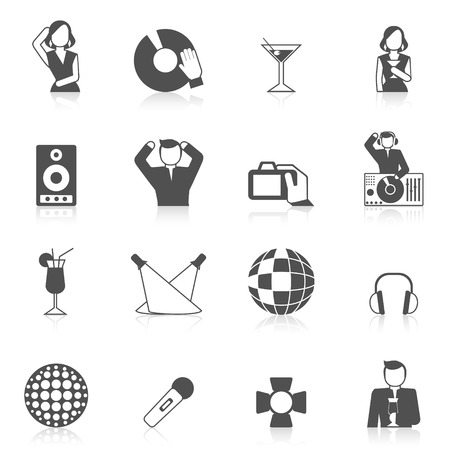 nightclub: Nightclub icon set with vinyl dj cocktails and karaoke microphone isolated vector illustration