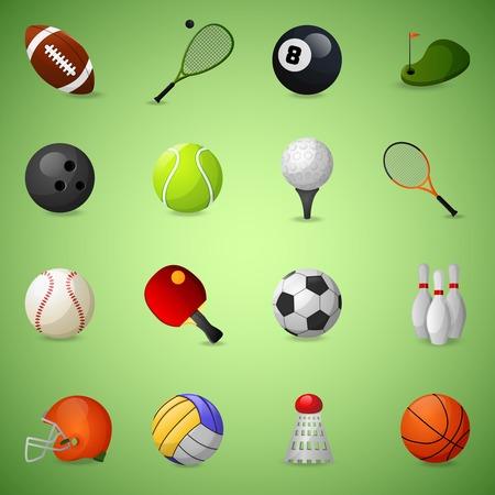 the equipment: Iconos del equipo de Deportes establecen con juegos de equipo pelotas y raquetas aislado ilustraci�n vectorial