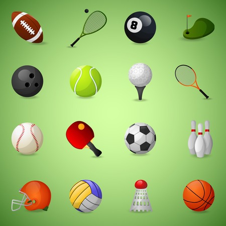 game of pool: Sports equipment icons set with team games balls and rackets isolated vector illustration Illustration