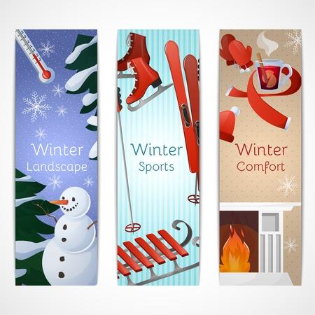tr�sten: Winter-Banner mit Landschaft Sportkomfortelemente isolierten Vektor-Illustration gesetzt