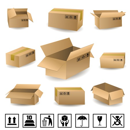 Cardboard shipping delivery boxes set with packaging icons isolated vector illustration Vector