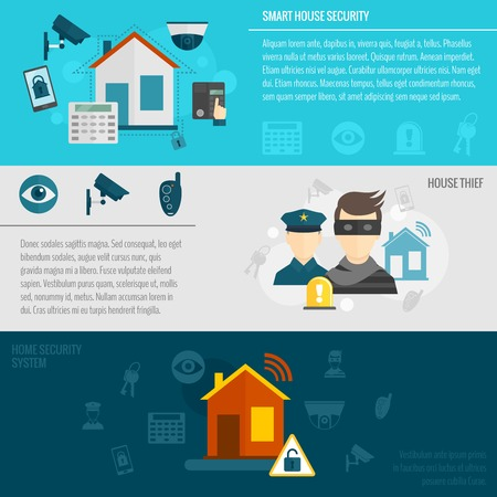 ladron: Bandera plana Seguridad en el hogar establecido con casa ladrón inteligente sistema de alarma de guardia aislado ilustración vectorial