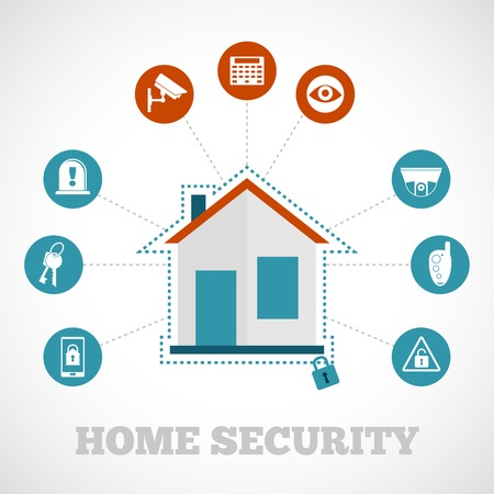 Macchina fotografica: Concetto di sicurezza domestica con la protezione di costruzione piatta icons set illustrazione vettoriale Vettoriali