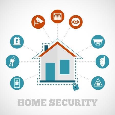 dieven: Home security concept met platte gebouw bescherming pictogrammen instellen vector illustratie