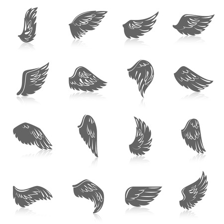 Flying bird wing icons angel symbols black set isolated vector illustration