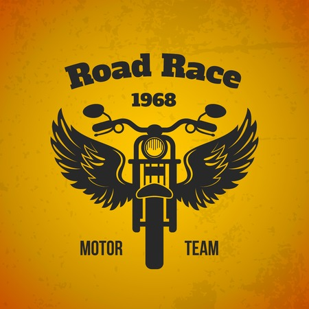 bike cover: Moto bike with wings road race motor team black text poster vector illustration