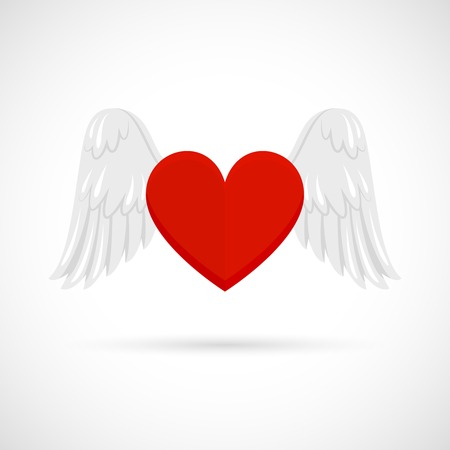 Heart With Wings Love And Spiritual Passion Symbol Isolated On