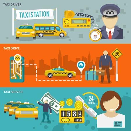 servicios publicos: Bandera de transporte de auto público Taxi establece con servicio aislado unidad conductor ilustración vectorial