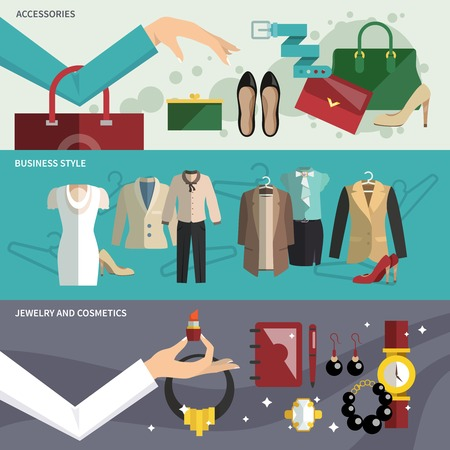 businesswoman skirt: Businesswoman clothes banner set with accessories business style jewelry and cosmetics isolated vector illustration
