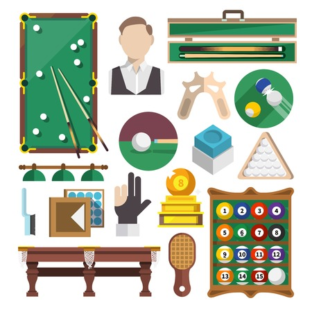 pool game: Billiards snooker pool game decorative icons flat set isolated vector illustration Illustration