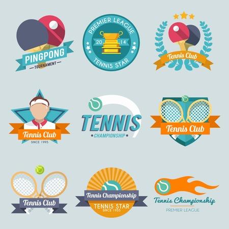 pingpong: Etiqueta pingpong torneo de la liga premier campeonato Tenis establece ilustración vectorial aislado Vectores