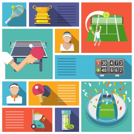 fault: Tennis game sport competition players and equipment icons flat set isolated vector illustration Illustration