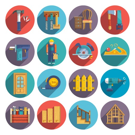 carpentry: Carpentry industry equipment icons flat set with toolbox furniture wood fence isolated vector illustration