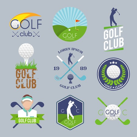 golf stick: Golf club label set with ball tee player lawn competition isolated vector illustration