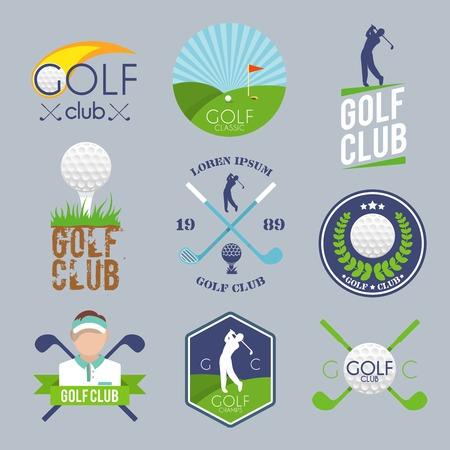 yarışma: Golf kulübü etiketi topu tee oyuncu çim rekabet izole vektör illüstrasyon seti
